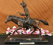Hand Made Remington Inspired Large Hot Cast Cowboy With Gun Old West Bronze Art