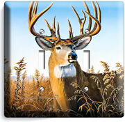 Whitetail Deer Buck Antlers 2 Gang Light Switch Wall Plate Cabin Room Home Decor