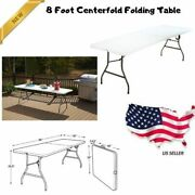 White 8 Foot Centerfold Folding Table Molded Top Office Party Bbq Picnic Tables