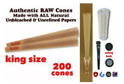 Raw Cone Classic King Size Pre Rolled Cone 200 Packs+glass Cone Tip+lock Tube