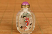 Chinese Unique Natural Hair Crystal Hand Painting Xishi Snuff Bottle