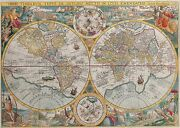 Antique Old World Map With Illustrations Art Large Canvas Picture Wall Art