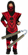 Boys Kids Childrens Ninja Skeleton Halloween Costume Outfit With Toy 4-12