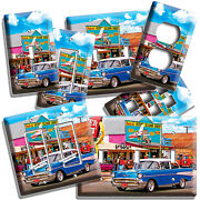 Retro Blue Car Historical Route 66 Light Switch Outlet Wall Plates Garage Decor