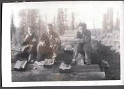 Vintage Photograph 1940's Men Lunch Boxes Thermos Logs Timber Logging Old Photo