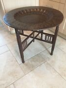 Antique Indian Morroccan Coffee Table - Brass Top Carved Wood Folding Legs