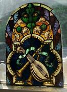 Antique -over 100 Years Old -musical Themed Mayer Of Munich Stained Glass Window