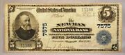 1902 Us Mint 5 Dollar Newman Illinois Large Size National Currency Note 7575