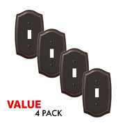 Value 4-pack Toggle Light Switch Stylish Stamped Steel, Oil Rubbed Bronze