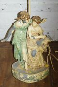 1957 Antique Metal 2 Lady And Book Figurines Sculpture Lamp