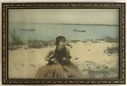 1920's Vintage Hand Colored Photograph Of A Hula Girl On A Beach In Hawaii