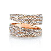 0.80ct 14k Rose Gold Round Pave Diamond Bypass Open Cocktail Wide Wrap Ring