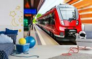 3d Red Locomotive A16 Transport Wallpaper Mural Self-adhesive Removable Zoe