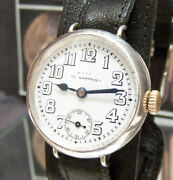 Antique Rare 1914 Omega Ww1 Officers British Military Watch Mappin Campaign