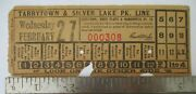 1907 Tarrytown White Plains And Mamaroneck Railway Silver Lake Ny Trolley Ticket