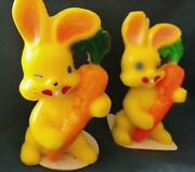 2 Vintage Gurley Easter Bunny W/carrot Holiday Candles Candle 4.75 Yellow