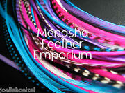 Feather Hair Extensions White Purple Pink Aqua Grizzly Solid Real Rooster 10