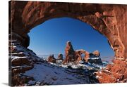 Winter Snow Covers Turret Arch At Arches Canvas Wall Art Print, Desert Home