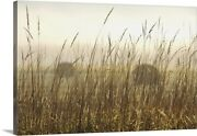 Bales Of Hay In A Field In The Fog Canvas Wall Art Print Countryside Home