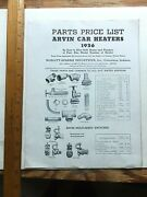 1936 Arvin Car Heaters Parts Price List. Illustrated. Four Pages.