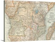 Africa, Central Part - Vintage Map Canvas Wall Art Print, Map Home Decor