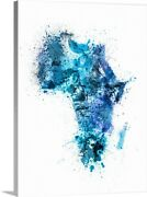 Paint Splashes Map Of Africa Map Canvas Wall Art Print, Map Home Decor