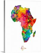 Africa Watercolor Map Canvas Wall Art Print, Map Home Decor