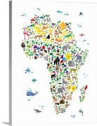 Animal Map Of Africa For Kids Canvas Wall Art Print, Map Home Decor