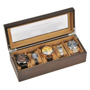 Portable High Class 5 Slots Wood Wooden Transparent Display Watch Box Case Chest