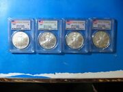 2009 Pcgs Ms 69 Silver Eagle First Strike Lot Of 4 Coins