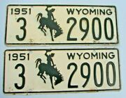 1951 Wyoming Auto License Plate Plates Pair  3 2900 Wy 51 All Original