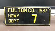 1937 Fulton Co Indiana Highway Dept License Plate Tag