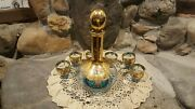 Vintage Blue Glass Decanter With Gold And Porcelain Gilt
