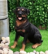 Large Lifelike Realistic Handsome Sitting Rottie Rottweiler Dog Statue 21 Tall
