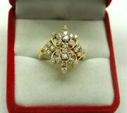 Fantastic Vintage 18ct Gold And 1.25ct Large Diamond Cluster Ring