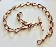 Fabulous Extremely Heavy Victorian Rose Gold 9ct Albert Pocket Watch Chain Rosey