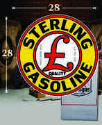 28 X 28 Sterling Gasoline Shield Gas Vinyl Decal Lubester Oil Pump Can Lubster