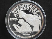 1988 Norman Rockwell The Critic 2 Troy Oz. Silver Round D8209