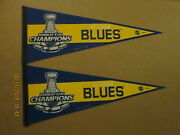 Nhl St.louis Blues Lot Of 2 Circa 2019 Stanley Cup Champions Wincraft Pennants