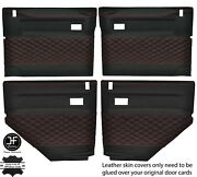 Red Diamond Stitch 4x Door Card Leather Covers For Land Rover Defender 90 110