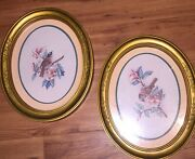 2 Vintage Home Interior/homco Oval Bird Pictures Gold Matted Frame