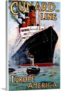Cunard Line Europe To America Vintage Canvas Wall Art Print Ships And Boats