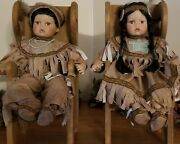 Limited Edition Vintage Porcelain Collection Native American Boy And Girl Dolls