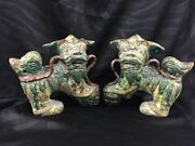 Pair Of Antique Chinese Earthen Stoneware Foo Dogs