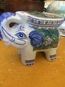 Porcelain Hand Painted Elephant Plant Stand