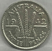 1942 Melbourne Australia Threepence..key Date..the Scarce One. Excellent Grade