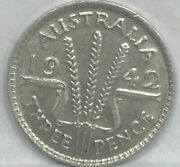 1942 Melbourne Threepence...key Date ..very Scarce..excellent Grade C.v 499