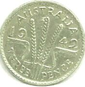 1942 Melbourne Threepence.key Date C.v.499.00..very Scarce In This High Grade
