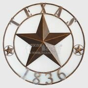 26 Texas 1836 Large Metal Barn Star Brushed Copper Finish Wall Plaque Sign