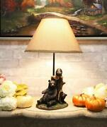 Rustic Black Momma Bear With Cubs Playing Hide And Seek Table Lamp With Shade